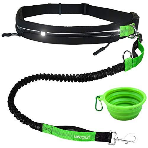 Joggingleine mit Bauchgurt für große und mittelgroße Hunde. Verstellbare Freihandleine mit Sport Laufgürtel. Elastische und reflektierende Laufleine im Set. Schwarz grün