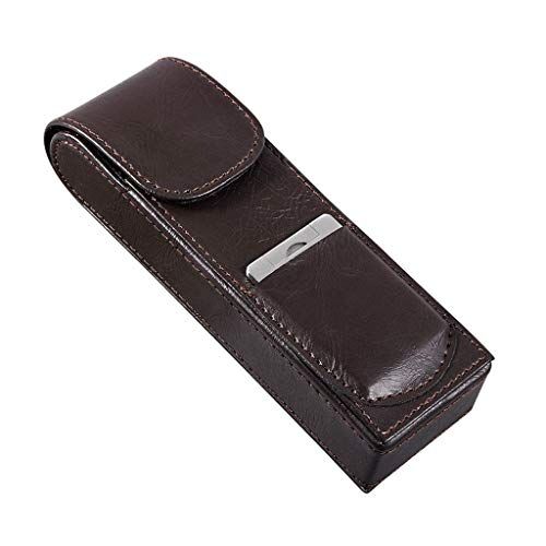 liuchenmaoyi Sigaro Valigia Sigaro Travel Case Genuine Leather Humidor Cedro Legno ricoperto con umidificatore e Rimovibili vassoi, Portable Light Weight Cigar Box Gift Set .Umido del Sigaro.