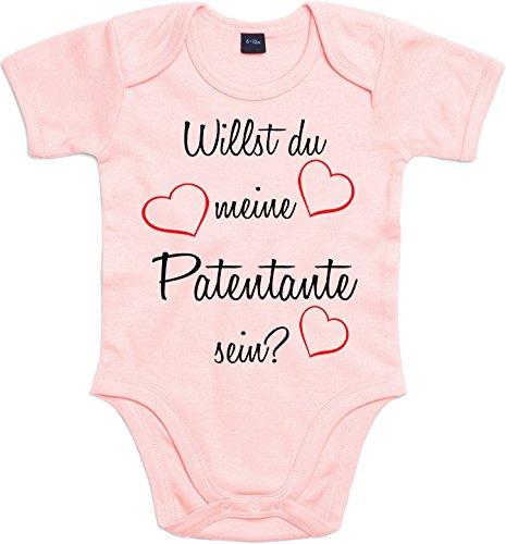 Mister Merchandise Baby Body Willst du meine Patentante sein? Strampler liebevoll bedruckt Pate Patenschaft Taufe Rosa, 0-3