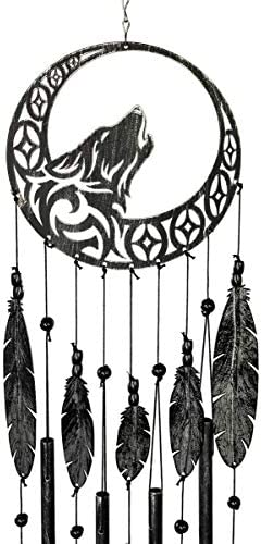 VP Home Tribal Wolf Dreamcatcher Outdoor Garden Decor Wind Chime Rustic Charcoal product image