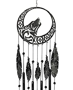 VP Home Tribal Wolf Dreamcatcher Outdoor Garden Decor Wind Chime  Rustic Charcoal