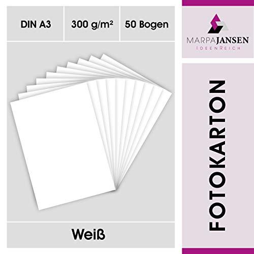 MarpaJansen Fotokarton weiß matt in DIN A3 50 Bogen - 300g/m² feste Bastelpappe für Cardboard und Scrapbooking - Blauer Engel zertifiziert