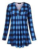 AMZ PLUS Women's Plus Size Pleated V-Neck Long Sleeve Floral Print Loose Blouse Casual Tunic Shirt Blue Plaid 4XL