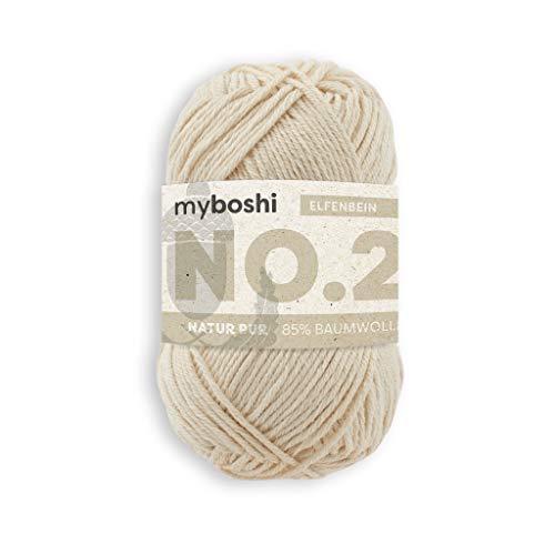 myboshi Häkel- und Strick-Garn | Modell: No.2 mit Kapok-Faser | leichtes Garn | 2920 Elfenbein