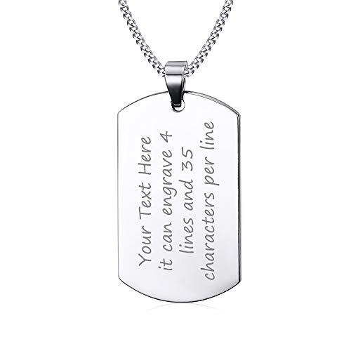 VNOX Dog Tags Personalized for Men Free Custom Engraving Stainless Steel Plain Dog Tag Pendant Necklace,Courage Inpsirational Birthday Graduation to Son Dad Husaband Fmily Friend