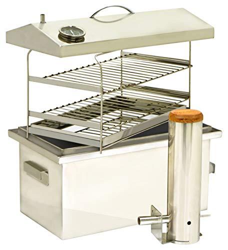 Smak Räuchermeister: Set Räucherofen zum kalt räuchern und heiß räuchern | Kaltrauchgenerator für Räucherofen | Räucherofen aus Edelstahl | Fisch Räucherofen | Räucherhaken Forelle | Kaufbei