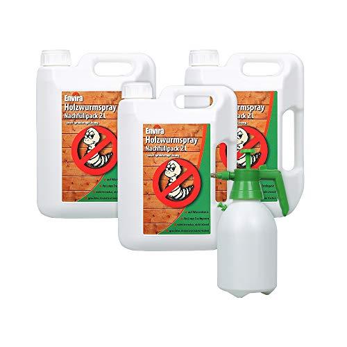 Envira Holzwurm-Spray - Holzwurm Ex Gegen Holzschädigende Insekten - Langzeitschutz & Wasserbasis - 3 x 2L + Sprüher