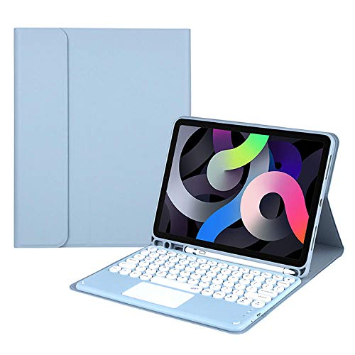 Funda para Teclado para ipad10.9 Funda Protectora para Teclado Bluetooth para iPad 10.2 Air 4 Touch Keyboard Pro Funda de Cuero de 11 Pulgadas-Azul Niebla + Teclado táctil Azul_2020 / 2018ipadpro11