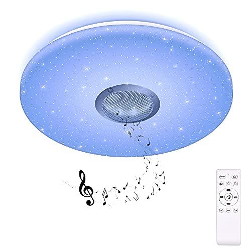 HOREVO 24W Bluetooth Musik Deckenleuchte Farbwechsel RGB Ø38CM 1800LM 2700~6500K Sternenhimmel Deckenlampe mit Fernbedienung und Lautsprecher, Dimmbar für Kinderzimmer (CE-zertifiziert)