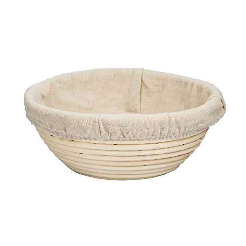 eoocvt 9.8 inch Round Banneton Brotform Bread Dough Proofing Rising Rattan Handmade Basket with Linen Liner Cloth - 25 x 8.5cm