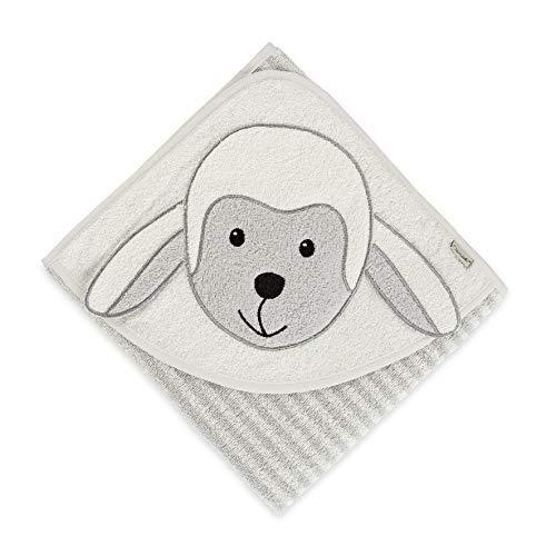 Sterntaler Serviette de Bain à Motif Mouton Stanley, Âge : Dès 0 mois, 80 x 80 cm, Gris