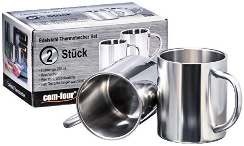 com-four® 2x Edelstahl-Kaffeebecher - 280 ml je Kaffeetasse - Thermo-Trinkbecher aus hochwertigem Edelstahl - Kaffeepott bruchsicher - doppelwandige Isolierbecher - BPA FREE