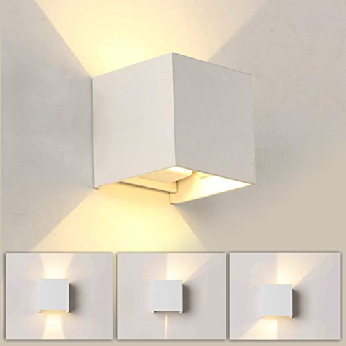 Quadratische 7W LED Wandleuchte Modern, Wandleuchte Up Down Mit Einstellbar Abstrahlwinkel Design und Wasserdichte IP65 Design, Wandlampe Schwarz Aluminiumgehäuse 3000k Warmweiß für Innen/Außen (Weiß)