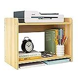 Gabinete para impresora 2 Nivel de impresora de escritorio Soportes de madera Copia Simple rack multifuncional Estudiante bastidor de sobremesa pequeña estantería de almacenamiento Soporte para Impres