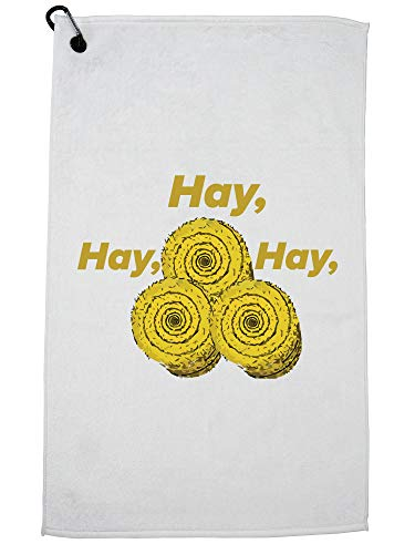 Hollywood Thread Hey Hey Hey Bailes of Hay Grappig Grafische Golf Handdoek met Karabijnhaak Clip