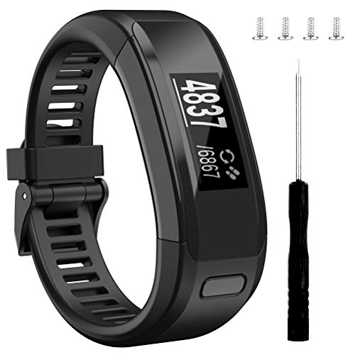 Wizvv Compatible Bands Replacement for Garmin Vivosmart HR, with Metal Buckle Fitness Wristband Strap,Black