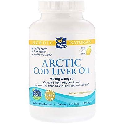 Nordic Naturals Arctic Cod Liver Oil, Lemon Flavour, 1000mg, 180 Softgels