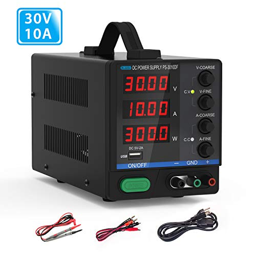DC Bench Power Supply, 30V/10A Dr.meter Variable 4-Digital LED Display Power Supply, Multifunctional and Switching DC Regulated Power Supply with USB Interface, Alligator Leads for Laboratory