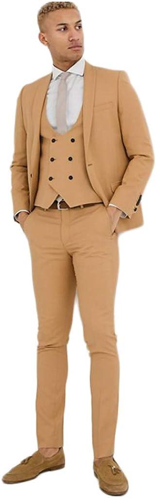 Men's Camel Casual Suit Jacket Vest and Pencil Pant for Party 3 Pieces