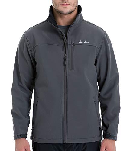 Clothin Men's Softshell Jacket Windproof Front-Zip Fleece-Lined Ski Insulated Coat(Grey L)