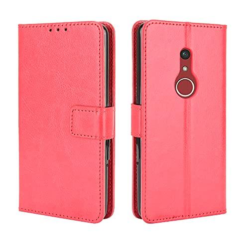 Lederhülle für Fujitsu arrows Be4 Plus Hülle, Flip Case Schutzhülle Handy mit Kartenfach Stand und Magnet Funktion als Brieftasche, Tasche Cover Etui Handyhülle für Fujitsu arrows Be4 Plus, Rot