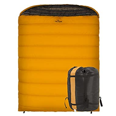 Teton Sports Mammoth 0F Double-Wide Sleeping Bag; Double Sleeping Bag Perfect for Base Camp while Cold Weather Camping, Backpacking, and Hiking; Orange