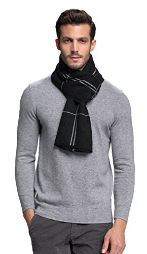 RIONA Men's Australian Merino Wool Plaid Knitted Scarf – Soft Warm Gentleman Neckwear with Gift Box