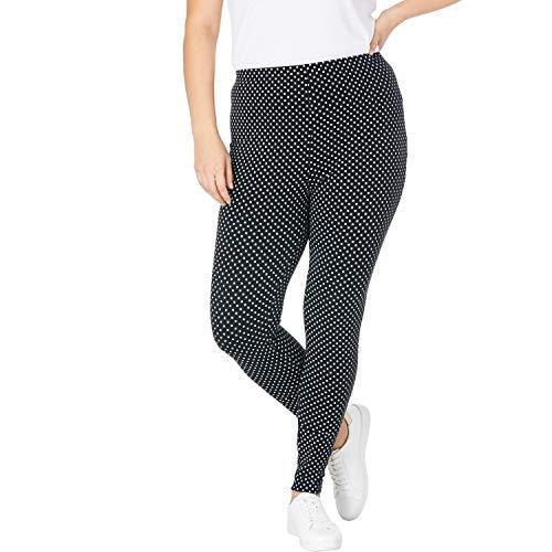Woman Within Women's Plus Size Stretch Cotton Printed Legging - L, Black Dot
