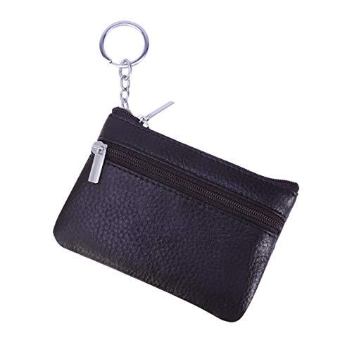Vosarea sac de rangement en cuir zippé multifonctionnel mini sac de rangement à glissière (café)