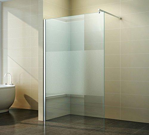 Duschabtrennung Walk Teilsatiniert Milchglas - Schicke Duschwand freistehend aus Glas für maximale Flexibilität, Freiraum Komfort in ihrem Badezimmer, Breite:130 cm