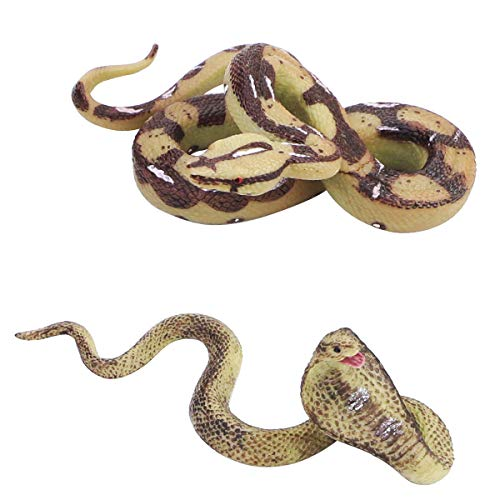 BILLIOTEAM 2 Pcs Realistic Toy Snake, Life Like Snakes Figures, Fake Toy Python and Cobra Snake Prank for Halloween Prank Props, Theme Party Decoration (Python and Cobra)