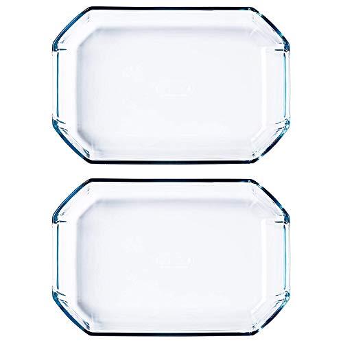 Pyrex Inspiration Rectangular Borosilicate Glass Dish 2.6L Transparent (Pack of 2)