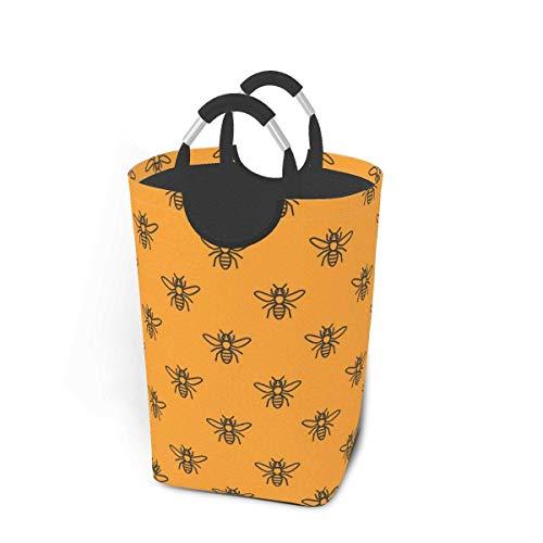TEGUJ Cestas sucias de ropa sucia paquete de abejas sobre un fondo naranja en una fila, colmena, passika plegable tela bolsa de lavado cesto