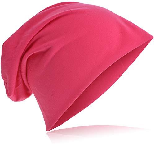 Jersey Slouch Beanie Long Mütze Unisex Unifarbe Herren Damen Trend Beanie-Unifarbe-Pink