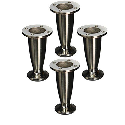 4' tall Sleek Tapered Adjustable Leg, Brushed Nickel Finish, Set of Four Legs