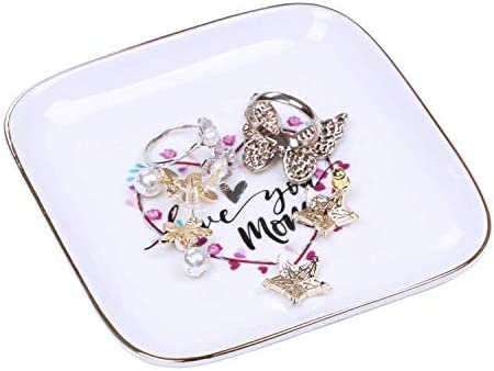 Jewelry Tray Dish Trinket Plate Ceramic Ring Dish Decorative for Women Mom Gifts Birthday Love product image