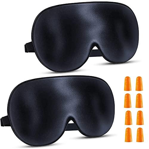 2 Piezas Antifaz para Dormir, 100% Opaco Cómoda Suave Tela de Seda Natural Puro Mascara de Dormir con Correa Ajustable y Tapones para los Oídos