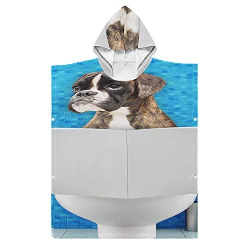 LONGYUU Kapuzenroben-Handtücher für Kinder Boxerhund, der auf Toilettensitz sitzt Kapuzenhandtuch-Bademantel Kapuzenpullover für Bad/Dusche/Pool/Schwimmen 1-7 Jahre alte Kinder-Bademantel