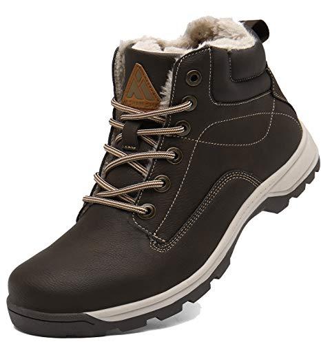 Mishansha Winterschuhe Damen Warm Gefütterte Schneestiefel rutschfest Trekking Wanderschuhe Herren Winter Outdoor Stiefel Braun 43