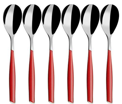 BUGATTI, Glamour, Set mit 6 Kaffeelöffeln aus Edelstahl 18/10 und rotem Griff, Pro-Tech System-Formteil, spülmaschinenfest