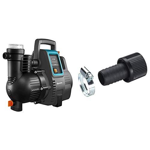 Gardena Hauswasserautomat 4000/5E: Energiesparende Hauswasser- und Bewässerungspumpe, Fördermenge 4000 l/h & Saugschlauch-Anschlussstück 25 mm (1 Zoll): Pumpen-Anschlussstück mit Schlauchklemme