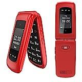 Uleway 3G Teléfono Móvil para Personas Mayores, Teléfono Móvil con Teclas Grandes Doble Pantalla de 2,4 y 1,77 Pulgadas, Móvil con Tapa Botón de Emergencia SOS Doble SIM Radio FM Linterna - Rojo