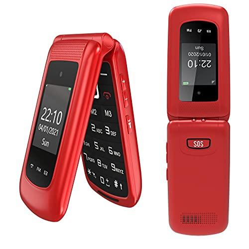 """Uleway 3g Téléphone Portable Senior Clapet Débloqué avec Grandes Touches, Téléphone pour Personnes âgées avec Haute Volume Station de Charge Torch Fonction SOS Double Écran (2,4"""" et 1,77"""") - Rouge"""