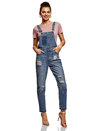 oodji Ultra Damen Jeans-Latzhose im Flickendesign, Blau, DE 42 / EU 44 / XL