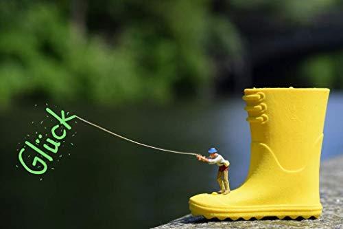 Coole schöne Postkarte | Glück angeln | Angler Gummistiefel