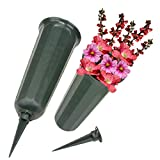 Evelots Cemetery Grave Cone Vase for Fresh/Artificial Flowers-Sturdy Stake-Set/2
