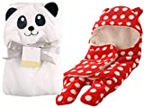 "ITEM PACKAGE: 2 Pcs. Very Attractive Jumpin Baby Blanket cum sleeping Bag. MATERIAL: Outer material Very soft Polka Printed Furry Flanno, Inner material pure Fibre Flannel Cotton SIZE: Hood To Toe 27 Inches, WIDTH: 14"", FULL SPREAD: 31 Inches . AGE G..."
