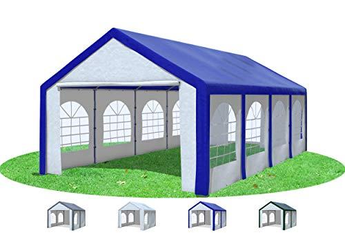 Stabilezelte Partyzelt 4x8 m Modular Pro PE 240 g/m² wasserdicht inkl. Seiten Festzelt Gartenzelt Blau Weiss