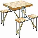 CYTT123 Mesa de Comedor y Silla Plegable para Acampar al Aire Libre Mesa de Madera portátil y sillas con Agujero de sombrilla Japonesa, Mesa de Picnic Redonda para 4 Personas UNO