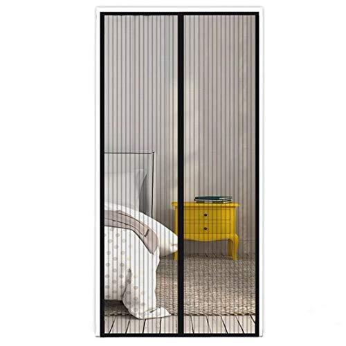 Bescherming tegen muggen horren magnetisch gordijn deurgordijn insectenbescherming magnetisch automatisch sluiten 210 x 100 cm voor balkondeur, terrasdeur, woonkamer, slaapkamer, eenvoudige montage zwart